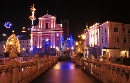 st francis: St. Francis church and Preseren square, decorated for Christmas and New Years holidays, Ljubljana, Slovenia