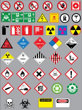 riesgo quimico: Advertencia y de seguridad signos conjunto de vectores Vectores