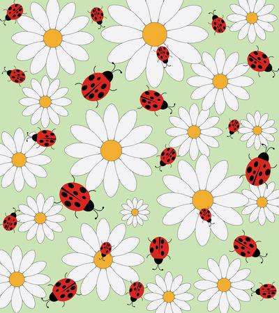Ladybird and daisy vector pattern Vector