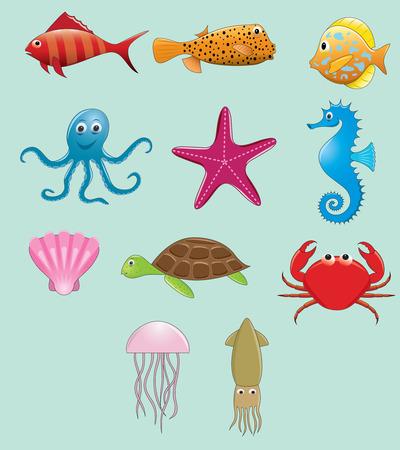 cuttlefish: Sea animals vector set