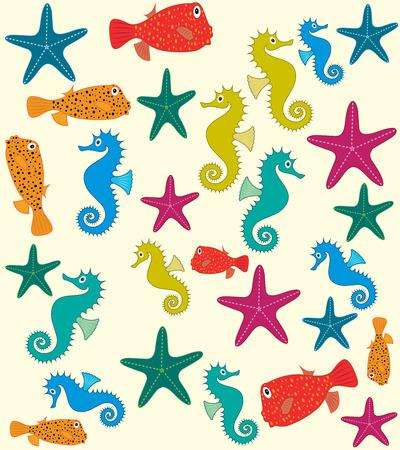 sea animals: Sea animals vector pattern Illustration