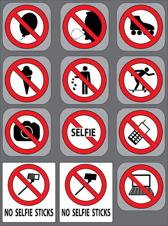 12 prohibition signs vector set Vector