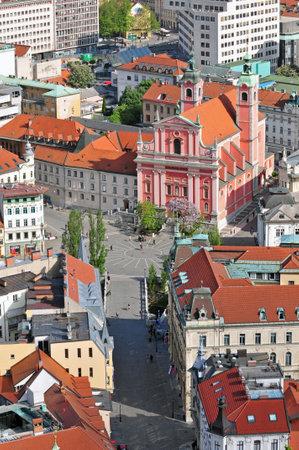 st  francis: Preseren square and St. Francis church in Ljubljana