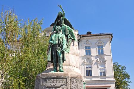 Preseren の像は、リュブリャナ、スロベニア