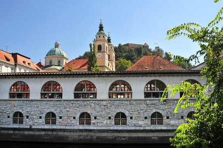 st nicholas cathedral: Main covered market and St. Nicholas cathedral in the background, Ljubljana, Slovenia