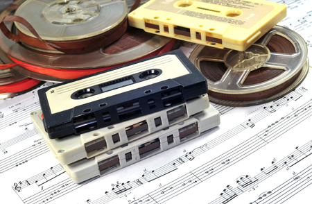 cassettes: Old cassettes and tapes with music notes