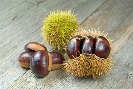 fagaceae: Close up photo of chestnuts on a wooden table