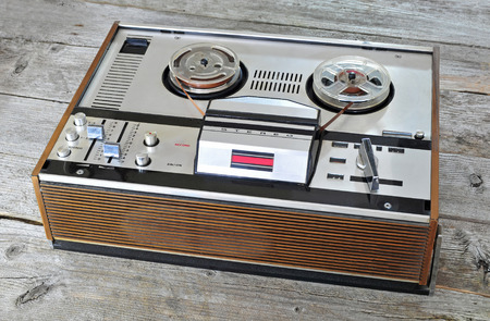 tape player: Photo of old reel to reel tape player Stock Photo