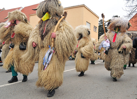 shrove: Traditional carnival on shrove sunday with traditional figures, known as kurent or korent in Ptuj, Slovenia Editorial