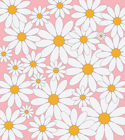asteraceae: Daisies pattern on a pink background