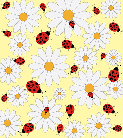 ladybeetle: Daisy and ladybird pattern on a yellow background Illustration