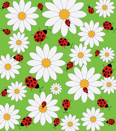 lady beetle: Daisy and ladybird pattern on a green background