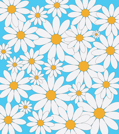 asteraceae: Daisies pattern on a blue background