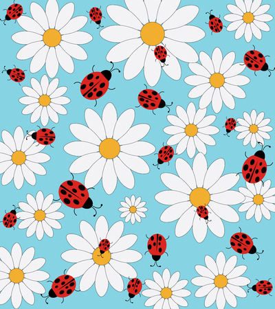ladybeetle: Daisy and ladybird pattern on a blue background