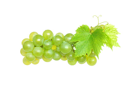 White grapes, isolated on a white background