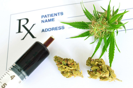 oleoresin: Medical cannabis  and hash oil with prescription paper