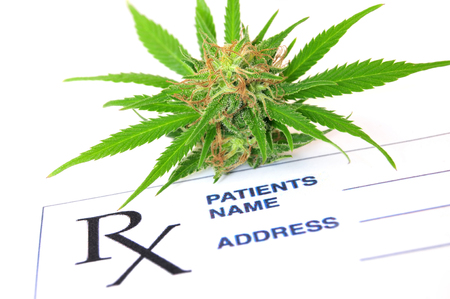 oleoresin: Medical cannabis with prescription paper Stock Photo