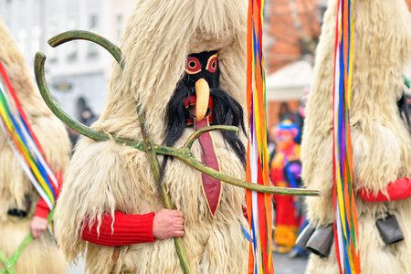 Traditional carnival on shrove Saturday with a traditional figures, known as kurent or korent in Ljubljana, Slovenia