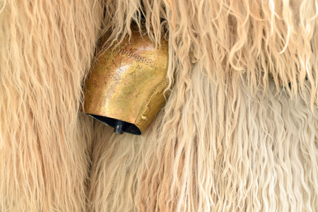 Traditional carnival on shrove Saturday with a traditional figures, known as kurent or korent and close-up of a metallic bells, which creates loud noise, Ljubljana, Slovenia Zdjęcie Seryjne
