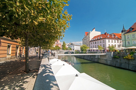 Ljubljanica river and old city center during summer, Ljubljana, Slovenia