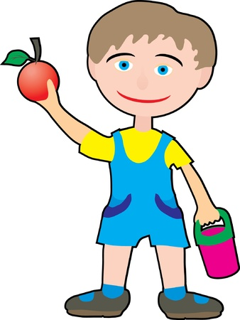 A boy holding a red apple Stock Vector - 13308058