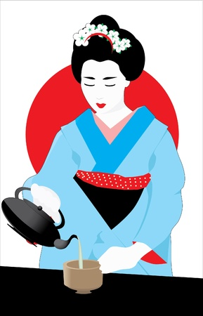 japanese kimono: Tea Ceremony Illustration