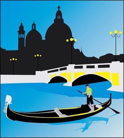 row boat: Gondolas in Venice