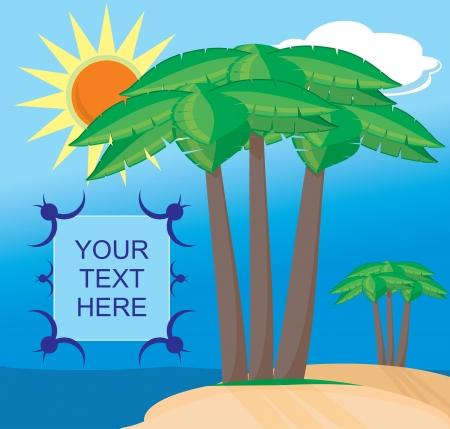 The tropical landscape  an island, ocean, palm trees  Vector