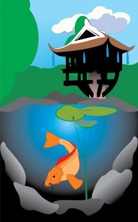 Koi in a pond near the pagoda photo