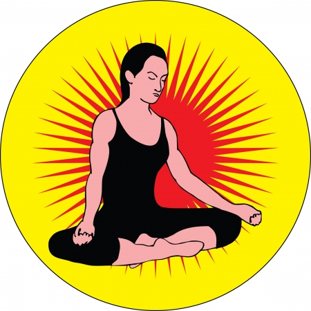 meditates: The girl meditates in the posture  lotus