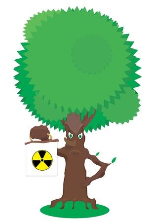 fairy tree: Fairy tree holds radiation warning sign Illustration