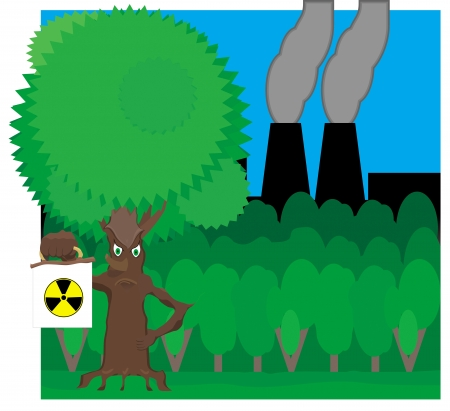ent: Fairy tree holds radiation hazard sign on the background of forest and plant from which the pipes are black smoke Illustration