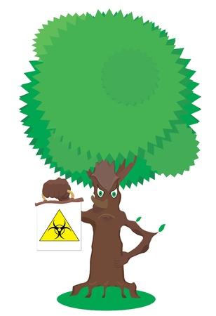 kompost: Fairy Baum mit einem Schild biohazard Illustration