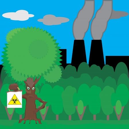 fairy tree: Fairy tree holding a sign biohazard in a forest and plant a pipe which goes black smoke