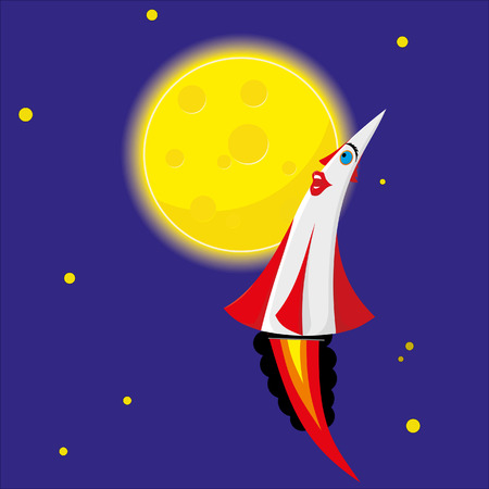 admires: Rocket admires the moon-like cheese Illustration