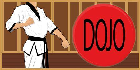 dojo martial arts athlete Ilustração