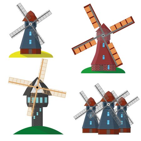 Set of isolated windmill.