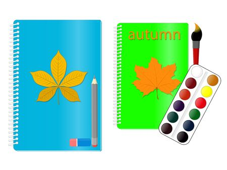Notebook for writing or drawing with an autumn sheet on the cover, next to a pencil and eraser and watercolor paints and brush. 矢量图像