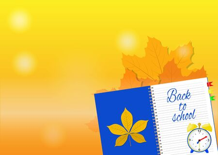 Yellow background for a banner with a notebook where it says - back to school. Vettoriali