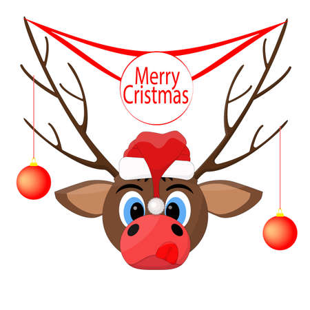 Christmas deer with banner - merry christmas. Illusztráció