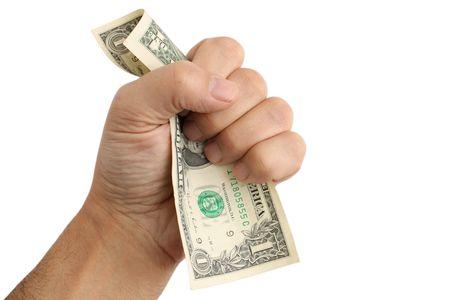 Dollar, hand.  white background