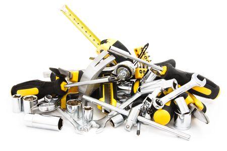 Heap-Tools auf weißem Hintergrund  Standard-Bild