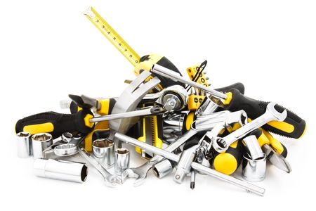 screwdrivers: heap tools on white background