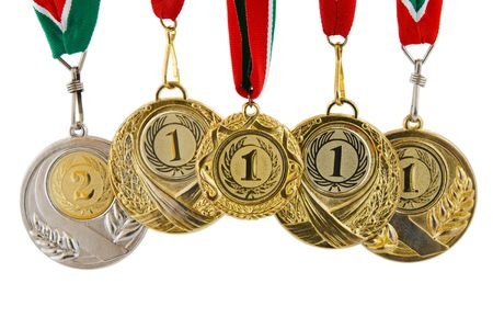five medals on white background Stock Photo
