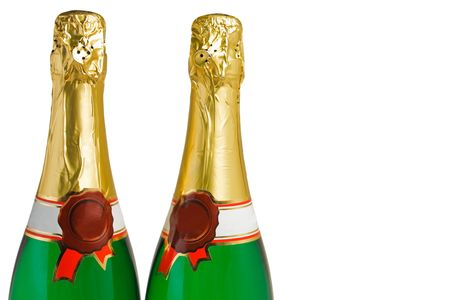 two bottles of champagne on a white background photo