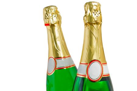 two bottles champagne on white background photo