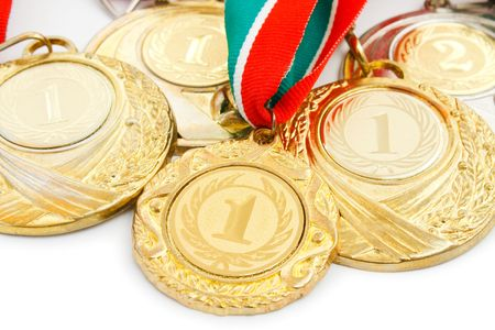 several medals close up.white background photo