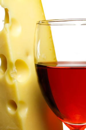 wineglass with red wine and cheese closa up.white background  Stock Photo