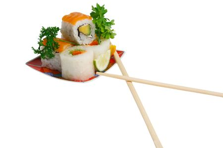 sushi rolls on plate and chopsticks.white background Stock Photo