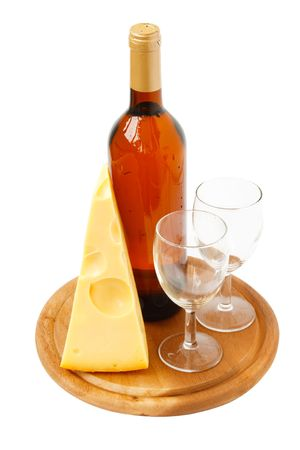 wine bottle ,cheese and empty glasses on board. white background